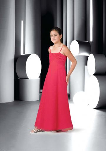 Wedding - Red Ruched Sleeveless Spaghetti Straps Chiffon Floor Length