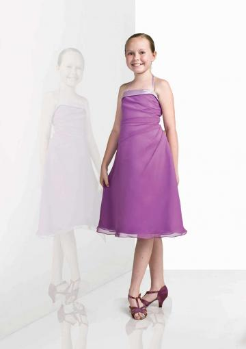 Wedding - Halter Purple Chiffon Ruched Sleeveless Knee Length