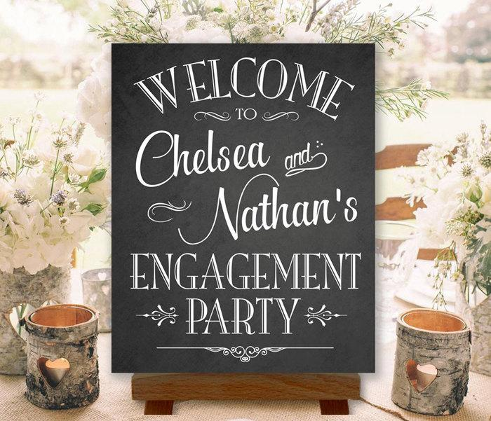 Wedding - Engagement Party Sign Chalkboard Welcome Printable Personalized with Names (#ENG1C)