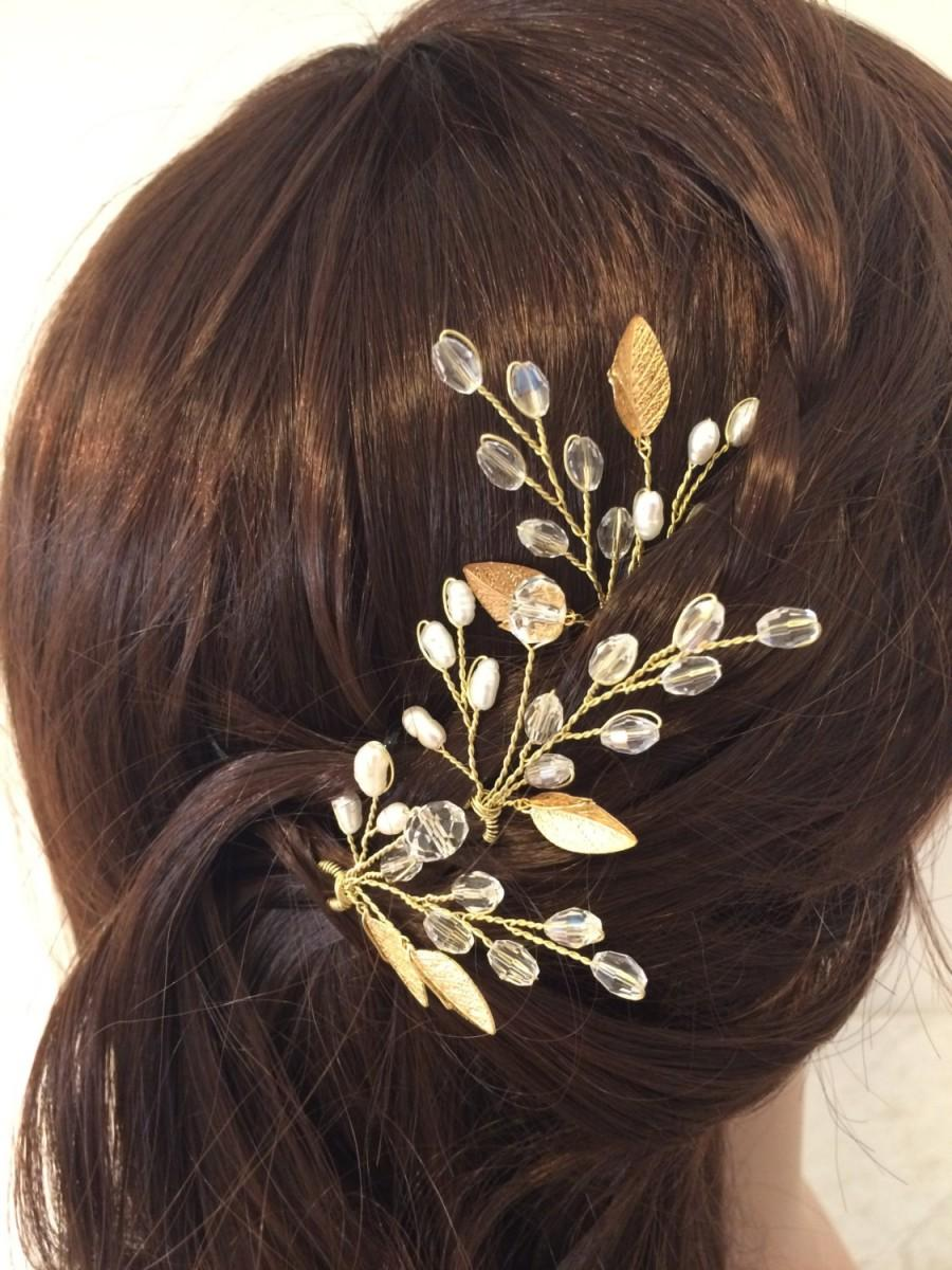 Свадьба - Set of 3 bridal hair pins, wedding hair accessories, pearl hair pins, bridal hair accessories, wedding hair pins, gold hair pins, hair pins