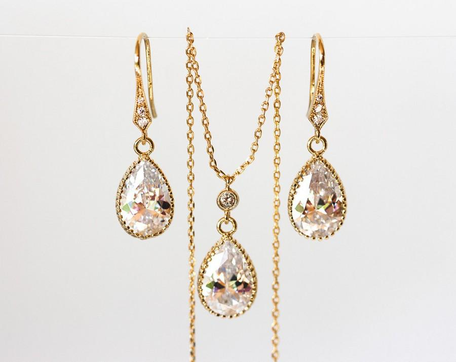 Mariage - Gold teardrop jewellery set, Gold earrings, Crystal necklace, Crystal bridal jewelry, Bridal jewelry set, Wedding jewelry set, Bridesmaid set.