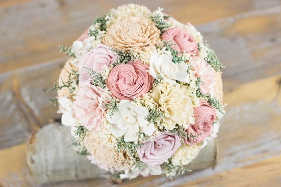 زفاف - Bridal Bouquet, Baby Pink, Dusty Pink, Tan Sola Flower Bouquet, Rustic Bridal Bouquet, Keepsake Bridal Bouquet, Handmade Bouquet