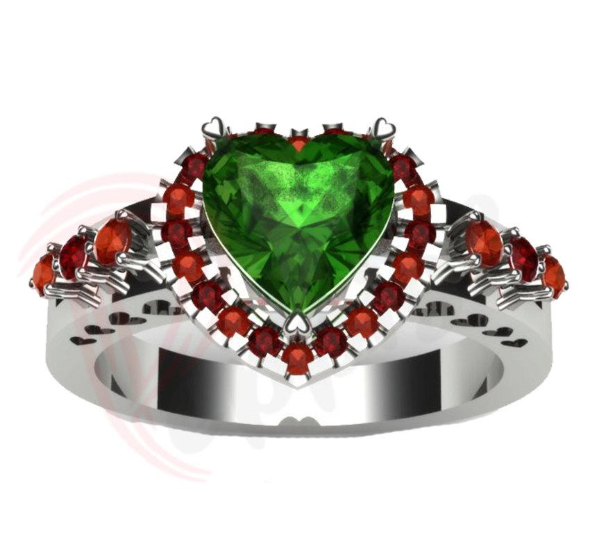 زفاف - Poison Ivy Inspired Heart Shape 2.70 Ct Green Color Engagement Wedding Ring Bridal Ring 925 Sterling Silver Ring 10K White Gold Finish
