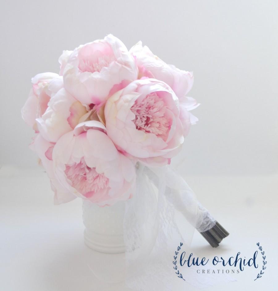 Mariage - Blush Peony Bouquet - Large Blush Peony Bouquet, Silk Peony Bouquet, Peony Wedding Bouquet, Pink