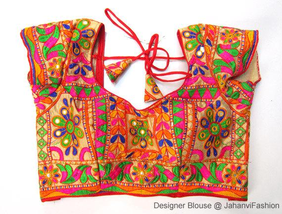 Colorful Embroidery Saree Blouse Embellished Sari Blouse Embroidered Blouse Designs For Bridal