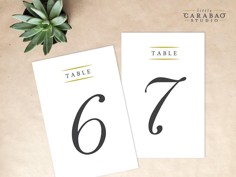 Wedding - PRINTABLE Table Number DIGITAL Table Numbers Wedding Table Number - Little Carabao Studio -