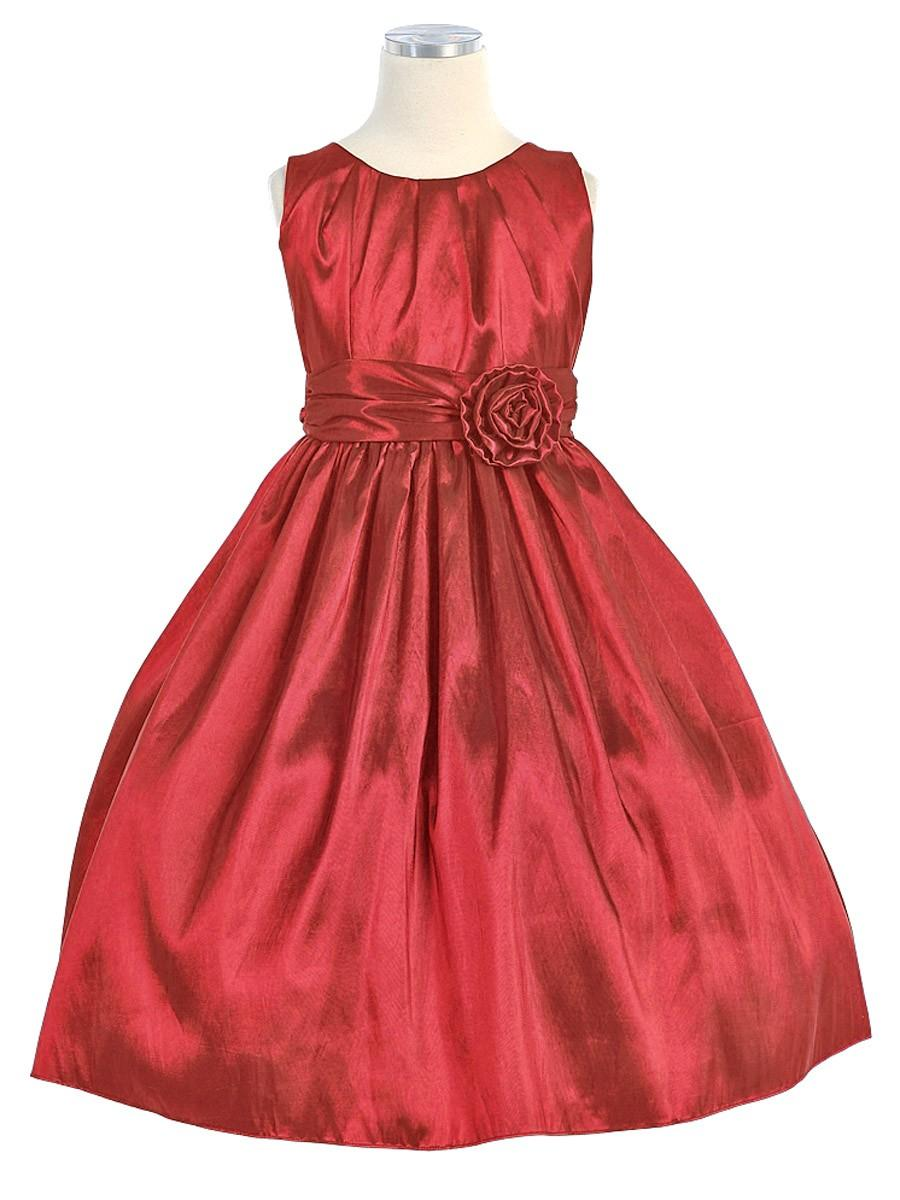 Hochzeit - Red Pleated Solid Taffeta Dress w/ Hand Rolled Flower Style: DSK355 - Charming Wedding Party Dresses