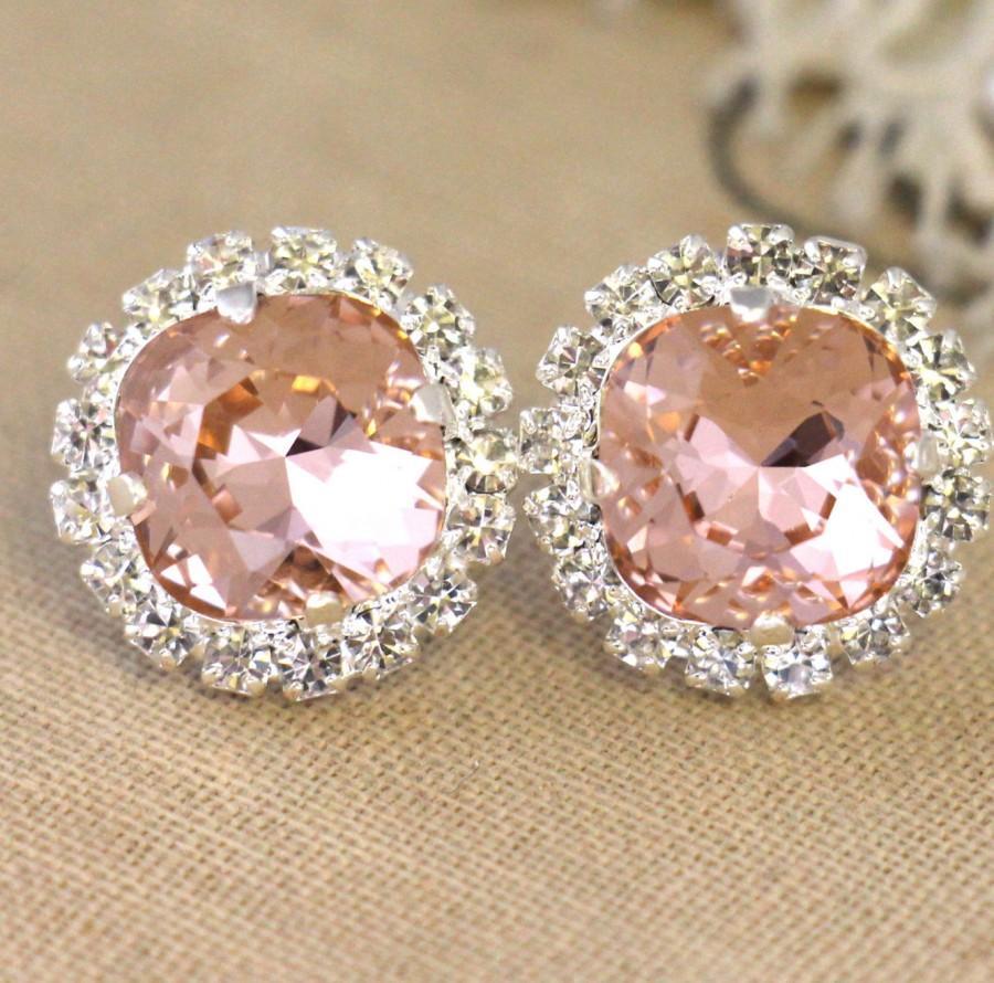 Mariage - Blush Earrings,Swarovski Blush Earrings,Bridesmaids Earrings,Swarovski Pink Blush earrings, Bridal Peach stud earrings,Bridal Blush Earrings