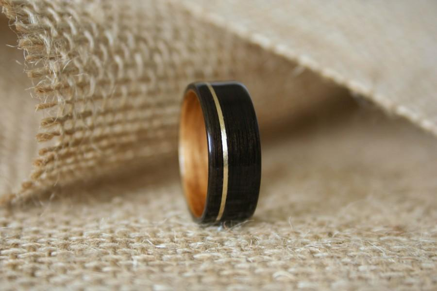 Men S Wooden Wedding Band With Gold Brass Inlay In Macassar Ebony
