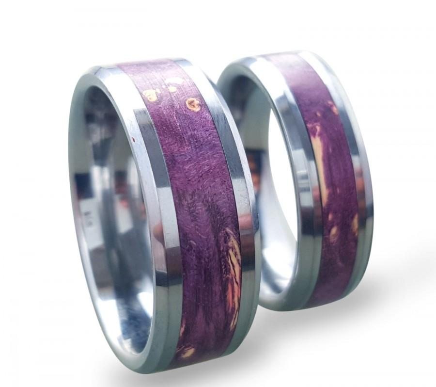 Tungsten Wedding Ring Set Carbide His And Hers Rings With Purple Box Elder Burl Inlay