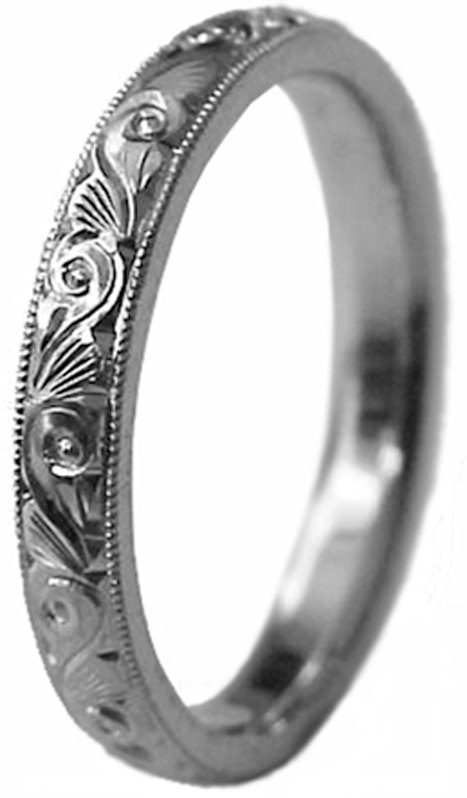 Wedding - New HAND ENGRAVED Lady's Palladium (Platinum group metal) 3 mm wide Wedding Band ring Comfort Fit custom size made to order