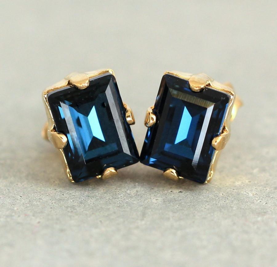 Navy Blue Studs Deep Earrings Crystal Dark Swarovski Bridal Stud Bridesmaids Gifts