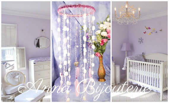 زفاف - Pink Violet Baby Mobile handmade exclusive Dreamcatcher bedroom Baby Mobiles bedding Dream Catcher Kids Dream catchers Pink Violet balance
