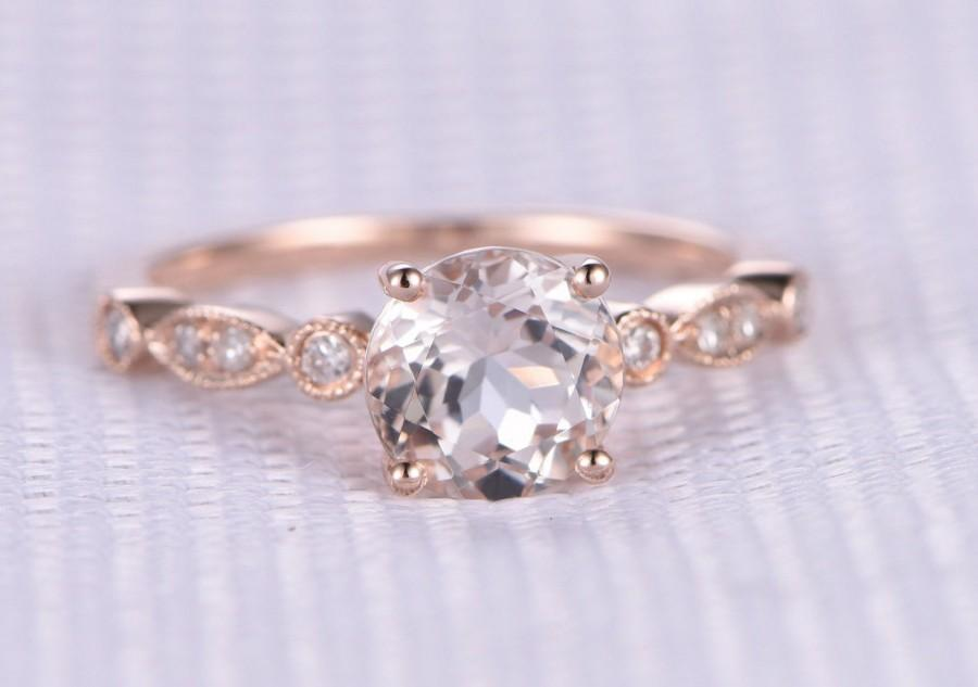 Mariage - Pink morganite Engagement ring,14k Rose gold,6.5mm Round Cut gem stone,diamond Wedding Band,Art Deco Antique,Ball Prongs,Milgrain Marquise