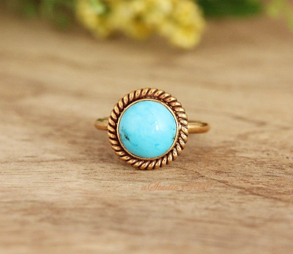 Wedding - Engagement ring -Gold turquoise ring - 18k gold ring -  blue Turquoise Ring - gemstone ring - bezel set Ring- gift for her