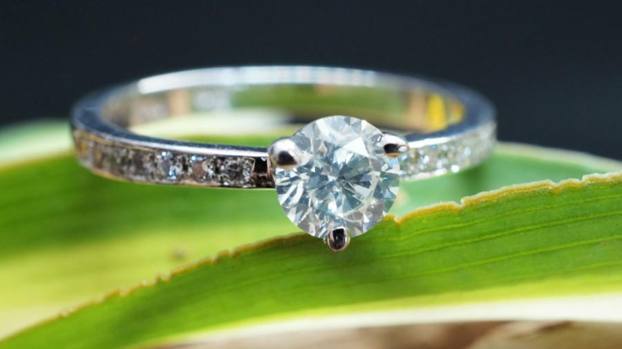 Mariage - Engagement Ring 0.56 ct White Gold Diamond Ring - Valentines Gift - Bridal Jewellery - Womens Jewellery