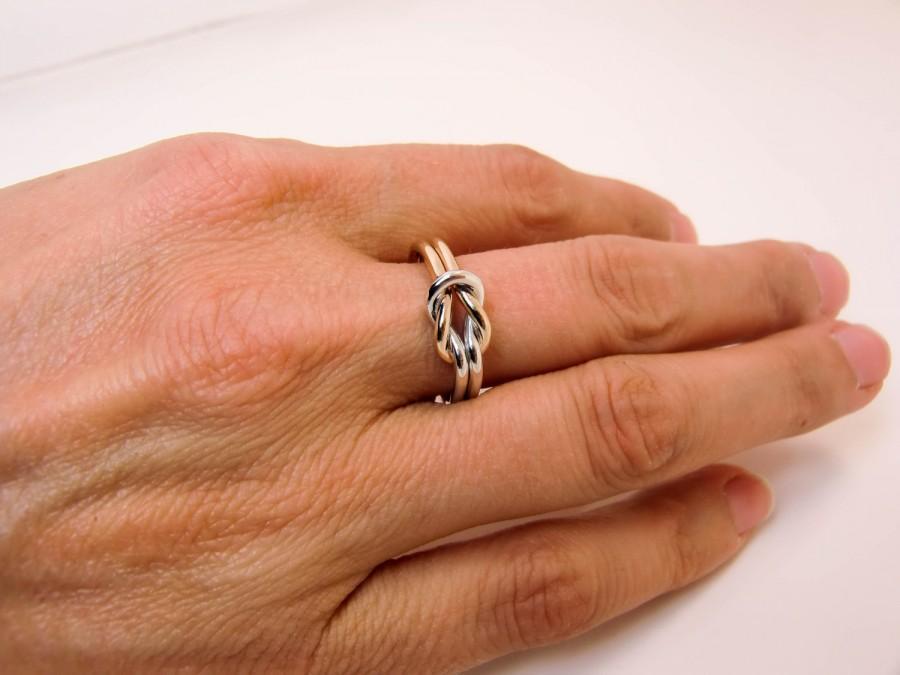 Mariage - 14K & Sterling Silver Knot Ring - 14 Karat Gold and .925 Silver Double Knot Ring - Half Gold Half Silver Knot Ring - Mixed Love Knot Ring