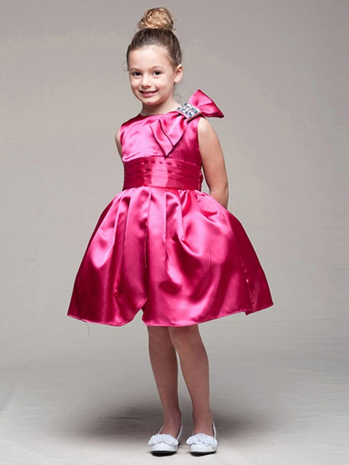 Wedding - Fuchsia Satin Bodice Tulip Dress w/ Left Shoulder Bow Style: D952 - Charming Wedding Party Dresses
