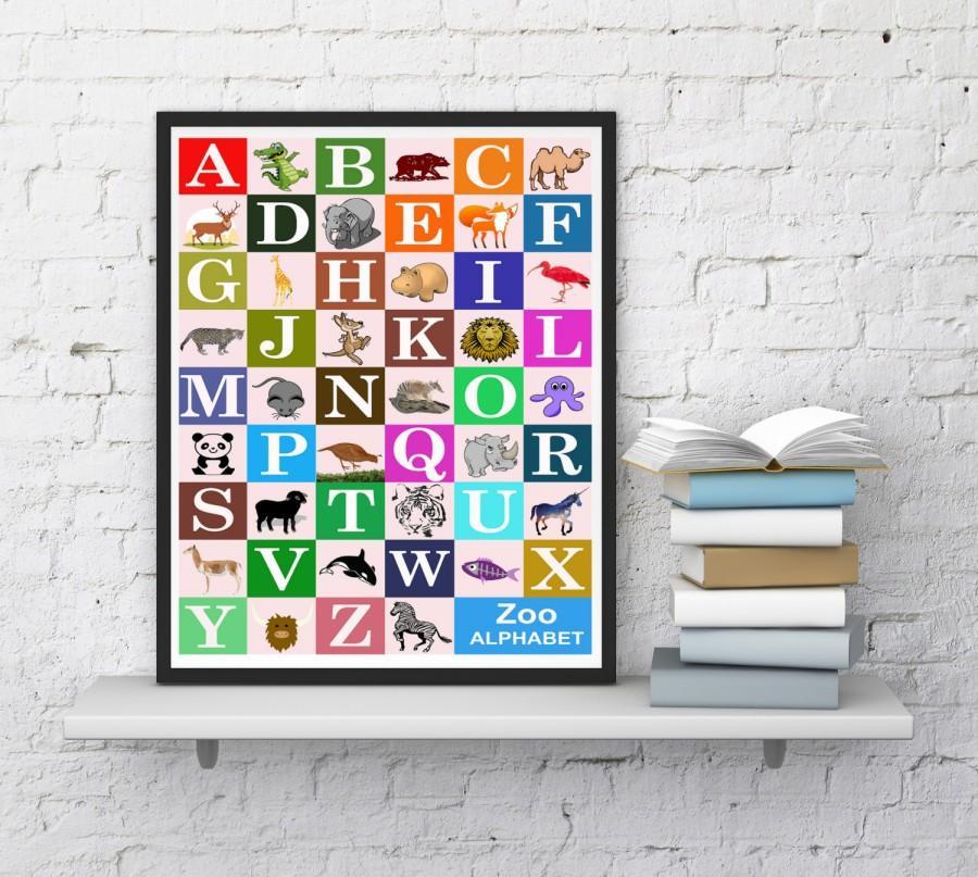 Animal Zoo Print, Zoo Alphabet Print, Nursery Wall Decor, Playroom ...