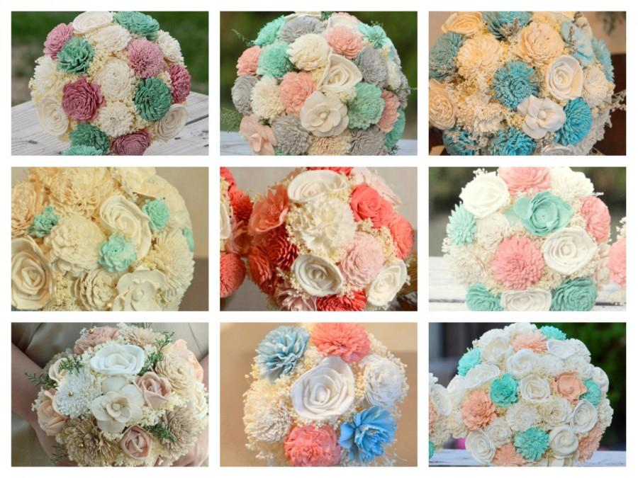 Hochzeit - MATCH Your Colors Wedding Bouquets Sola Flowers and dried Flowers Bride or Bridesmaid Keepsake Bouquets