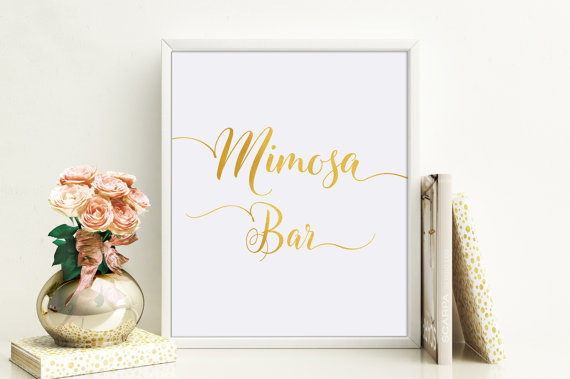 Wedding - Mimosa Bar Sign, Mimosa Bar Printable, Bridal Shower Mimosa Sign, Gold Bridal Shower Decoration, Instant Download