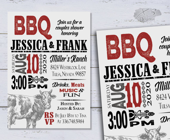Wedding - I Do BBQ Invitations, Couples Shower Invitation, Rustic Bridal Shower Invite, Rehearsal Dinner Invites, Engagement Party, DIY Wedding