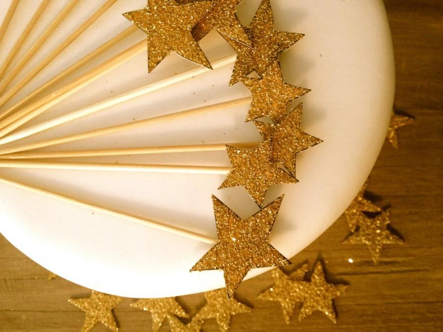 زفاف - Gold Glitter Star Cupcake Toppers - Set Of 12  - Vintage Inspired