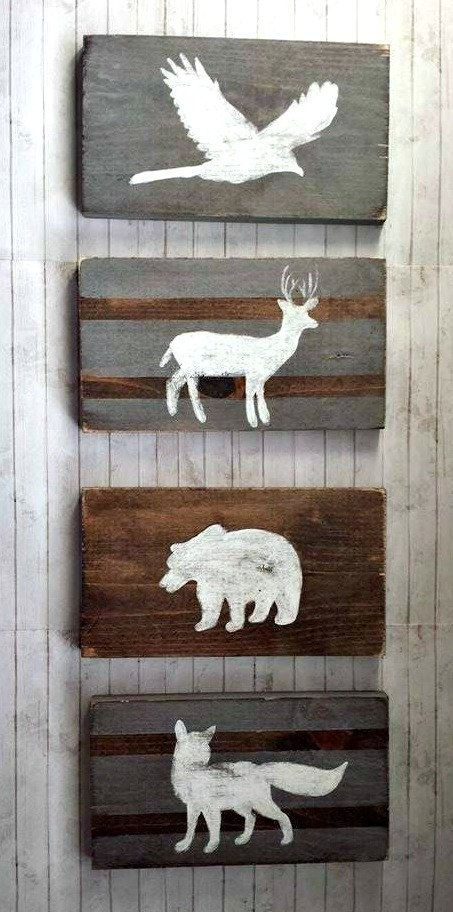 Woodland Nursery Decor Reclaimed Wood Set Tribal Rustic Hunting Pheasant Bear Deer And Fox Wolf Kids Room