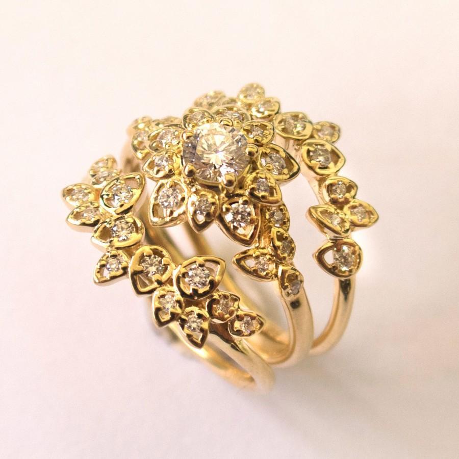 زفاف - Moissanite Art Deco Petal Engagement Set - 14K Gold and Diamond engagement ring, leaf ring, flower ring, antique, vintage, Wedding Set