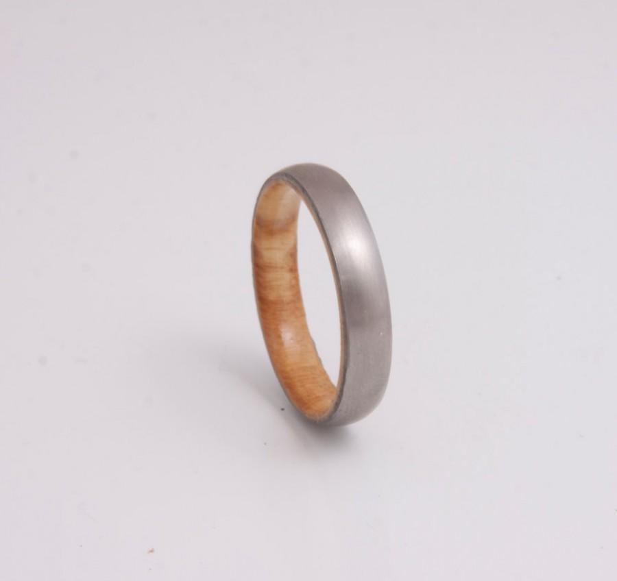 زفاف - olive wood ring titanium band mens wedding wood ring engagement ring metal him her