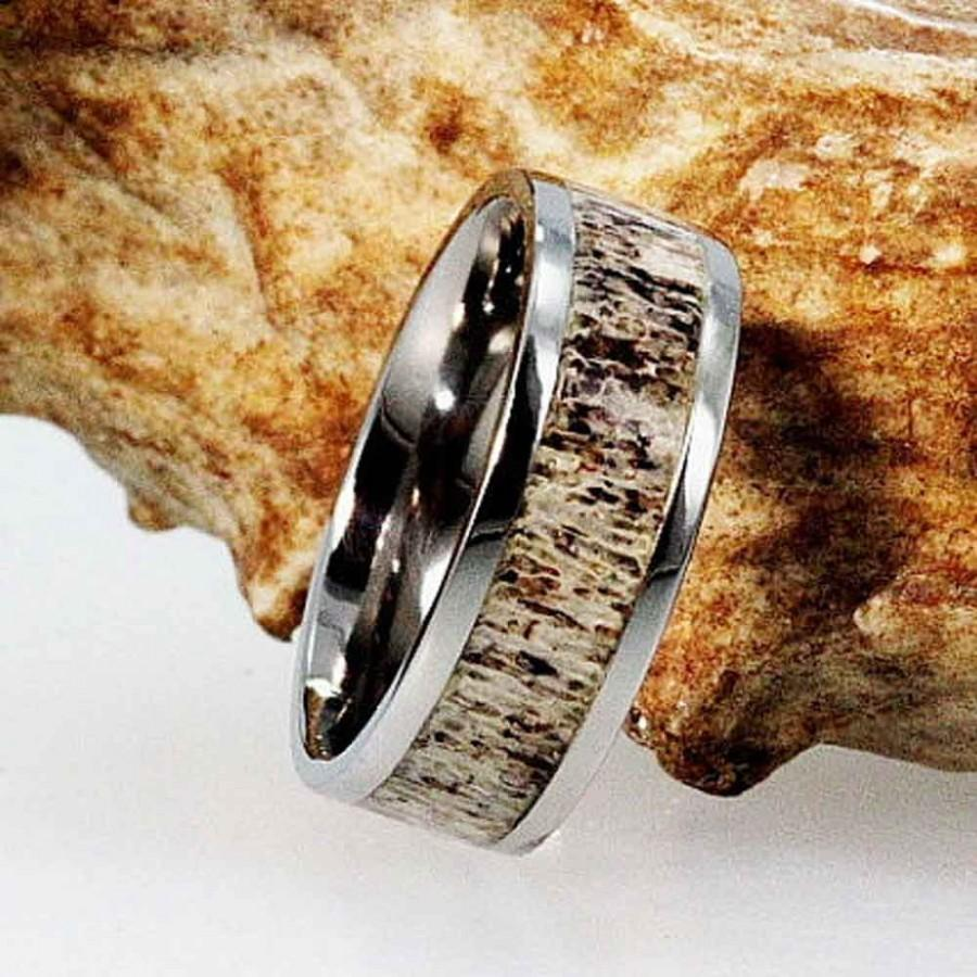 deer antler ring antler wedding band Deer Antler Ring Antler Ring Wooden Ring Antler Ring Inlaid With Oak Wood