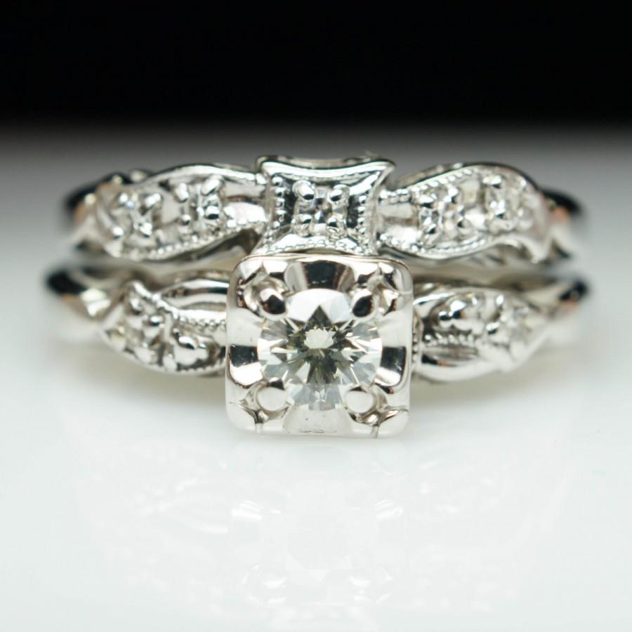 vintag art deco diamond engagement ring & wedding band bridal set