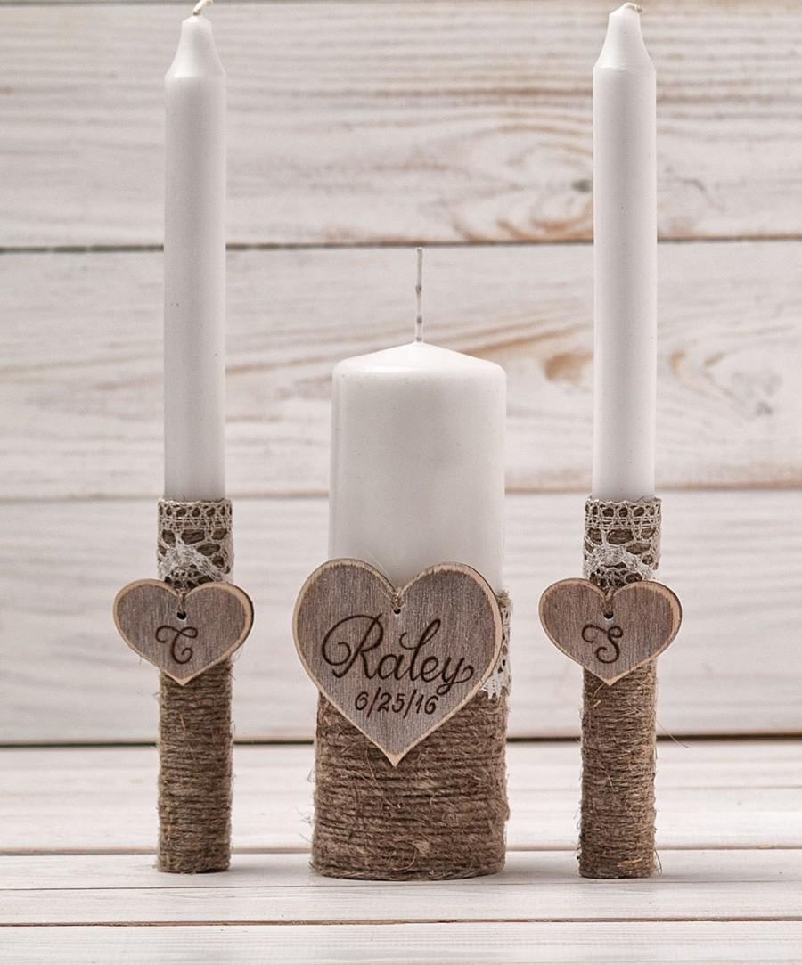Mariage - Wedding Unity Candle Set Rustic Unity Candle Church Ceremony Set Personalized Unity Candle Wedding Ceremony Custom Candle  for a Vow Renewal