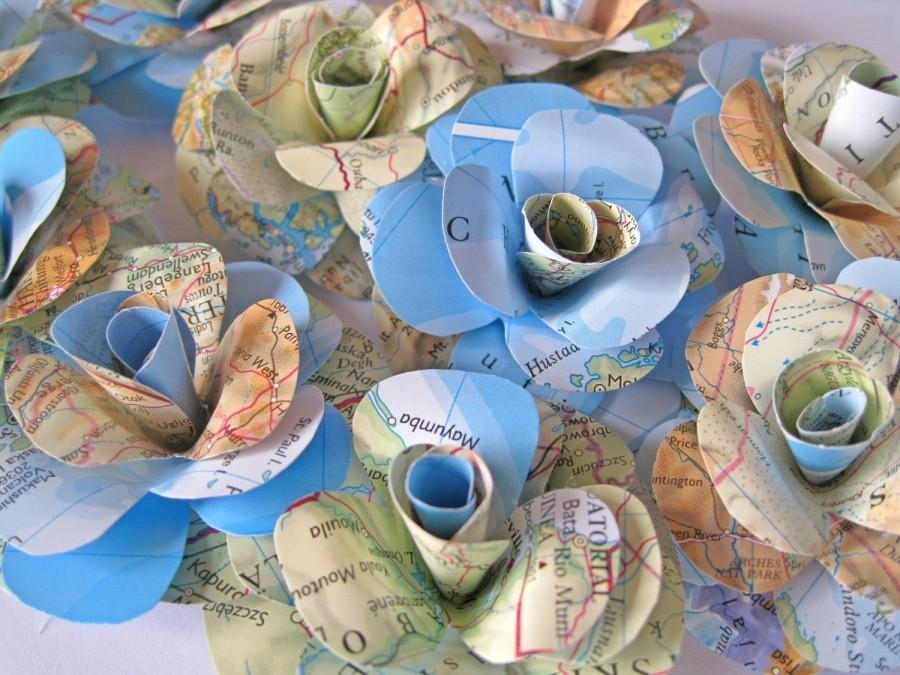 Mariage - Set of 10 Travel Paper Roses, Map Paper Flowers, Stem Roses, Map Paper Wedding Decor, Eco Wedding, Craft Project, Vintage Paper Flower