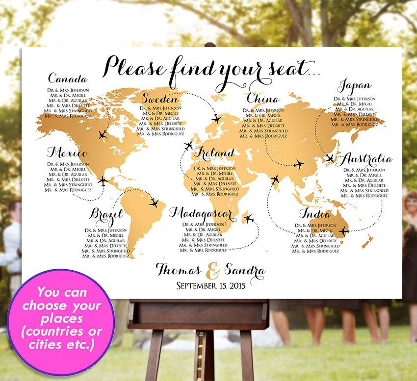 Gold World Map Poster.Wedding Seating Chart Rush Service Gold World Map Plane Travel