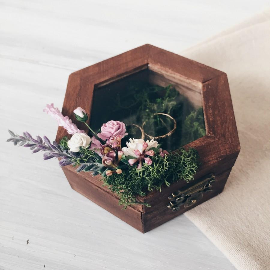 ring holder with moss and lavender ring bearer box