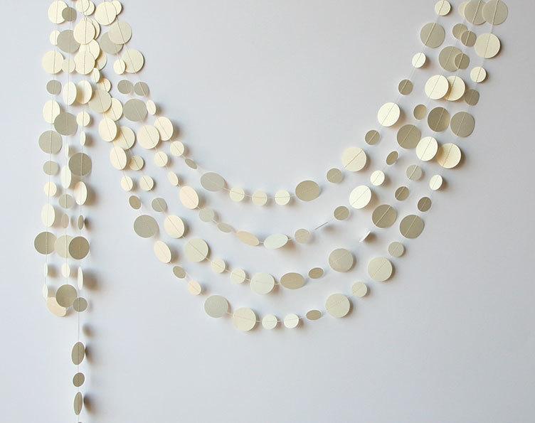 Mariage - Off white garland, Wedding garland, White wedding decor, Wedding decoration, Bridal shower decor, Paper garland, Home decor, P-C-0001