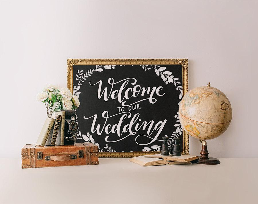photo relating to Printable Wisdom called Welcome Signal, Marriage ceremony Welcome Chalkboard Indicator Printable