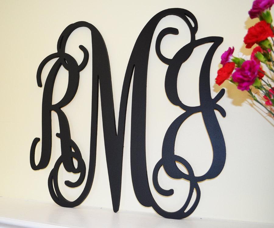 Mariage - 24'' Custom Wood Monogram in Vine Font, Wooden wall monogram, photo prop, nursery decor