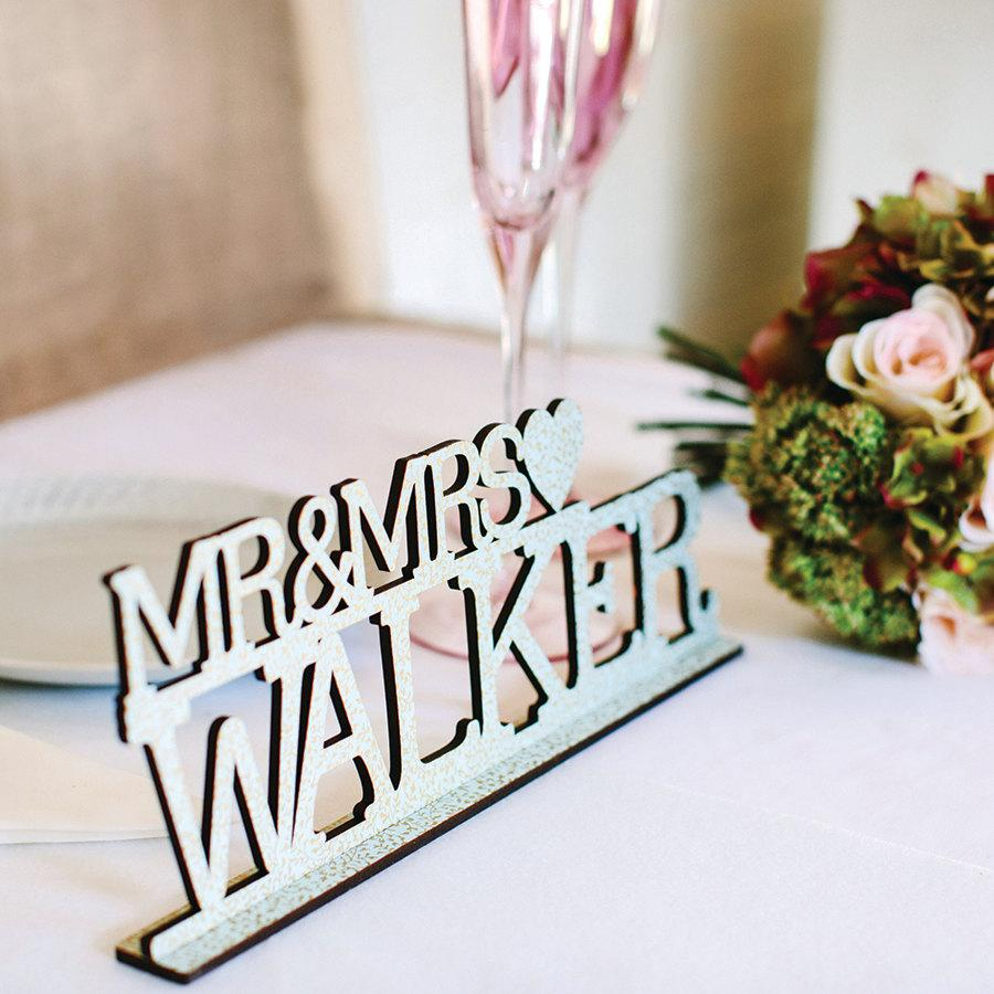 Mariage - Centerpiece Mr and Mrs Wedding Sign  Personalised Keepsake Top Table Decoration
