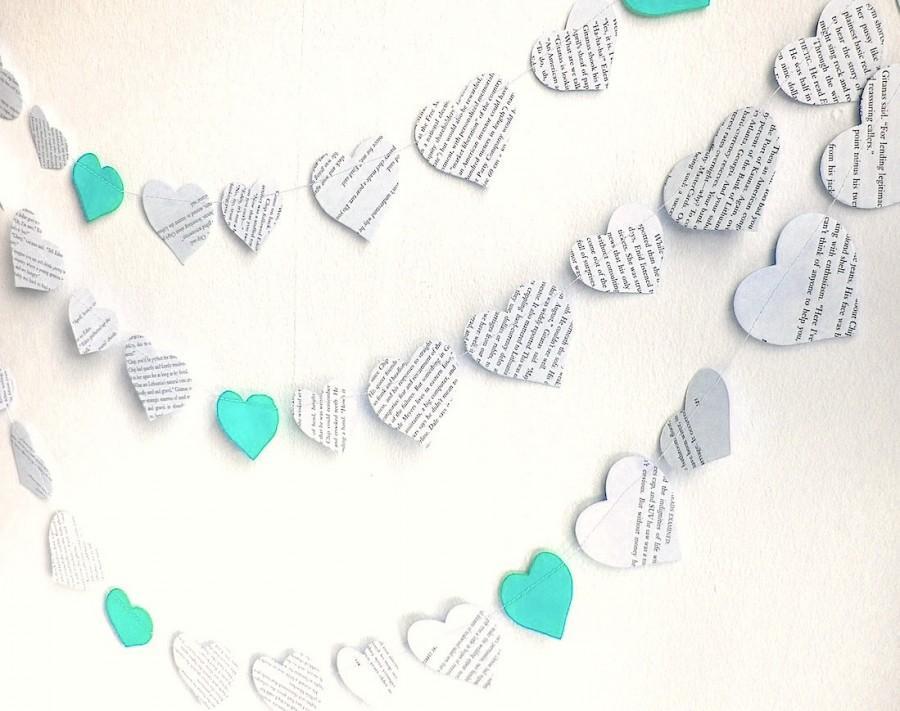 Mariage - paper hearts garland, Valentines day decor, vintage printed paper mint wedding garland, 10 ft handmade mint wedding shower decor