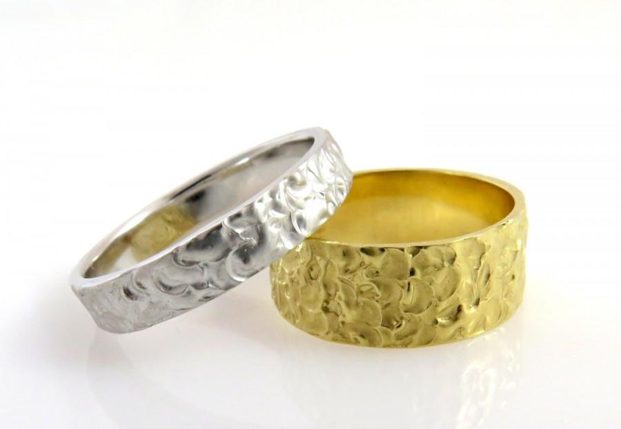 bands unisex band media fit organic comfort ring texture women men wedding yellow gold for unique wide