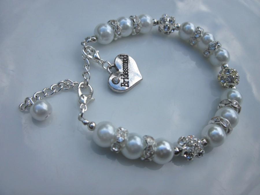 Pearl Bracelet Bridesmaid Gift And Diamante Bridal Jewellery Uk Er