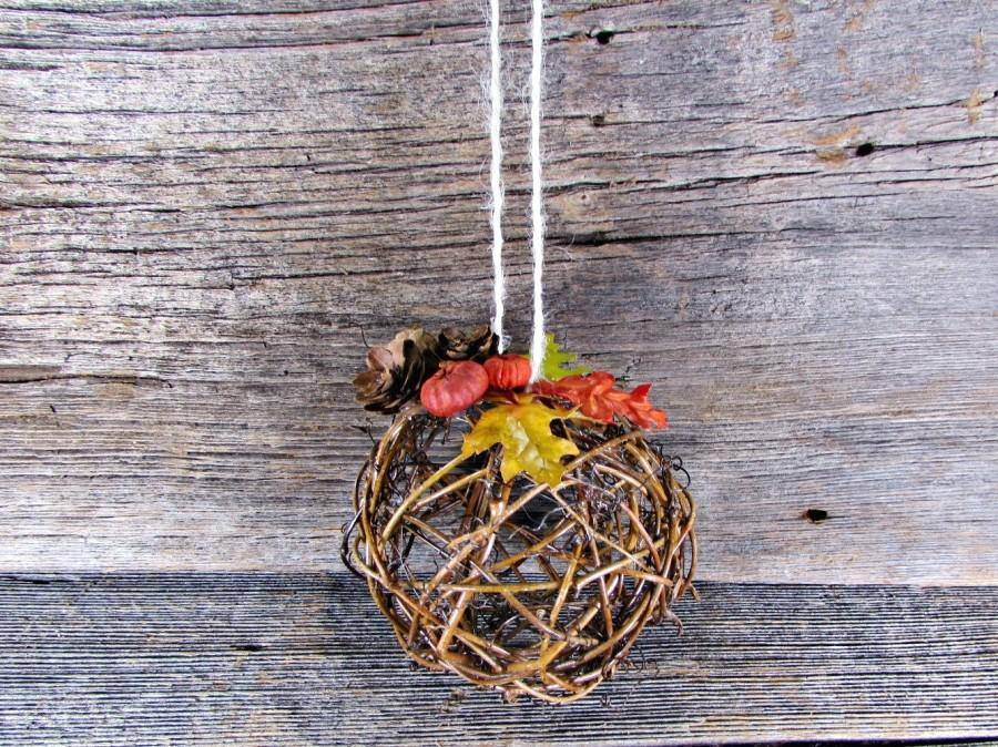 Autumn Fall Kissing Ball Centerpiece Flower Girl Pomander Twig