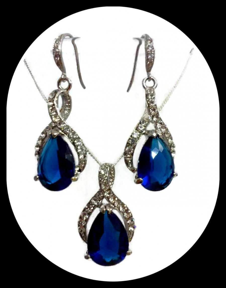 Hochzeit - Something Blue Wedding Jewelry, Sapphire Blue Bridal Earrings, Drop Bridal Necklace, Pear Cz Bridal Jewelry Set, Gift for Her, TWIRL