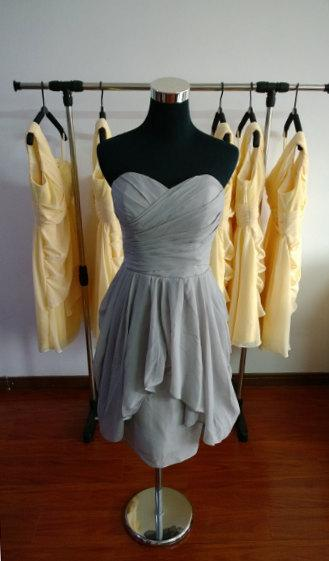 Mariage - Strapless bridesmaid Dresses Chiffon Dresses Prom Dresses Grey Evening Dresses Dresses Hand made Dresses Plus size Dresses Ruffles Dresses