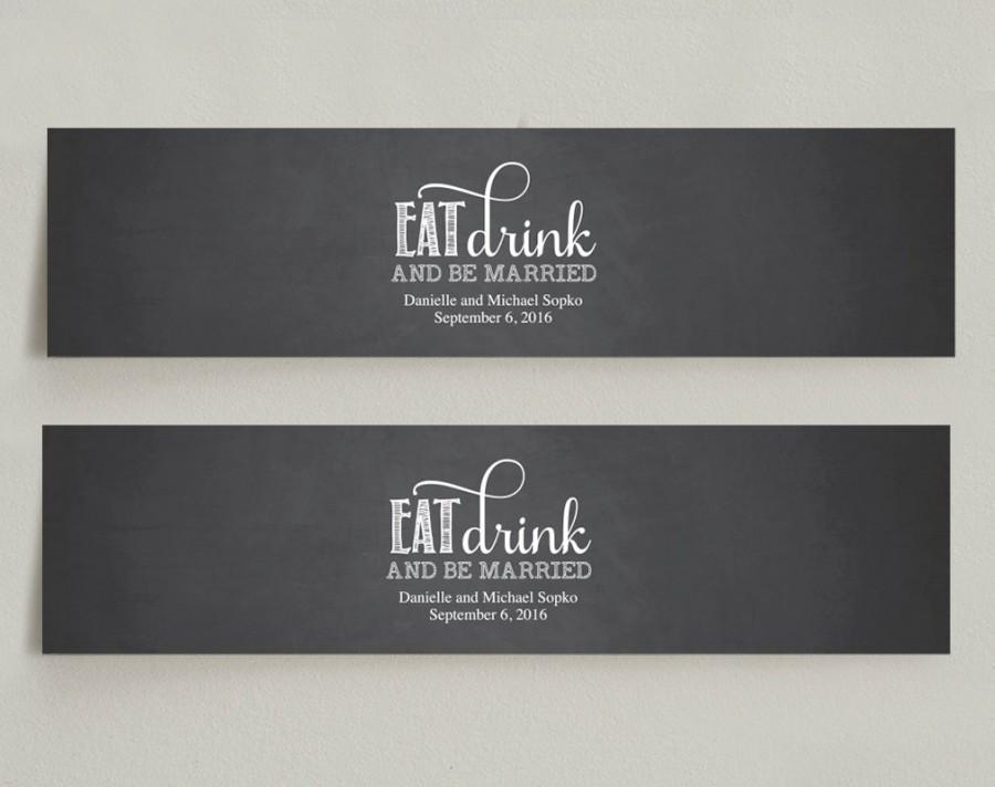 Wedding water bottle labels chalkboard wedding editable pdf.