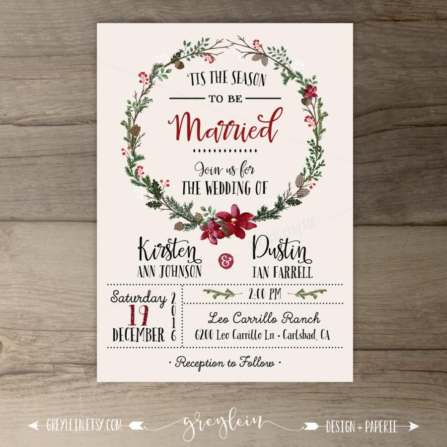 Winter Wedding Invitations Wreath Tis The Season To Be Married