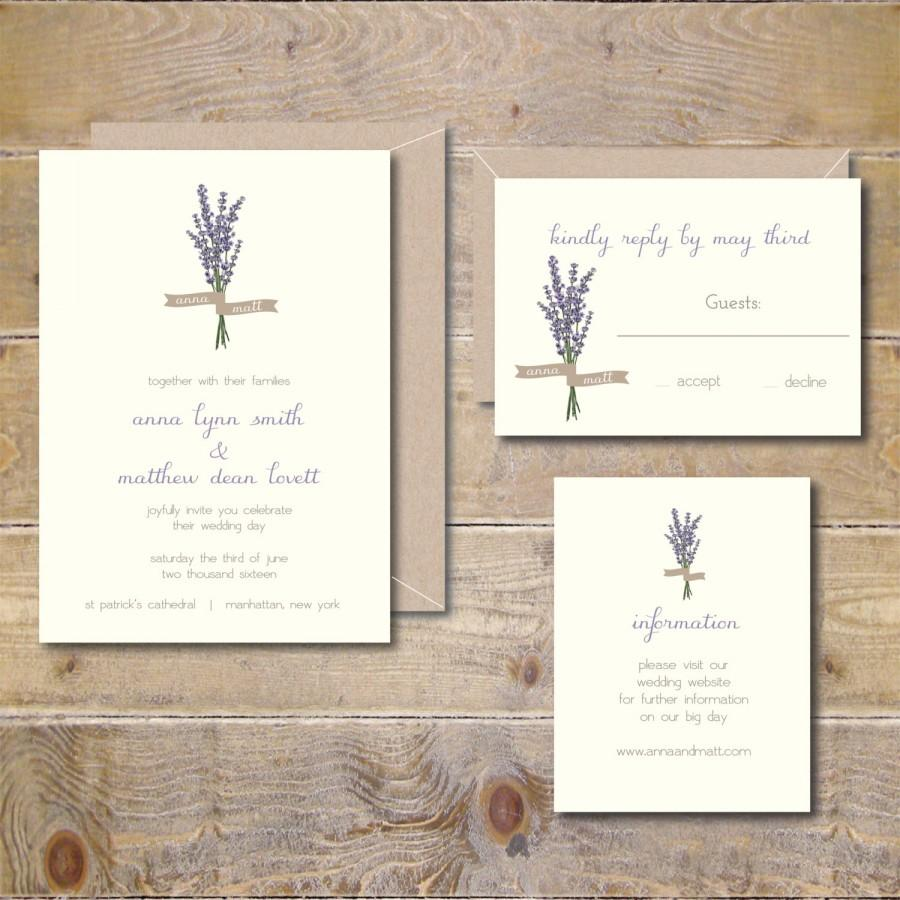 Lavendar Wedding Invitations, Lavendar, Flowers, Floral, Garden ...