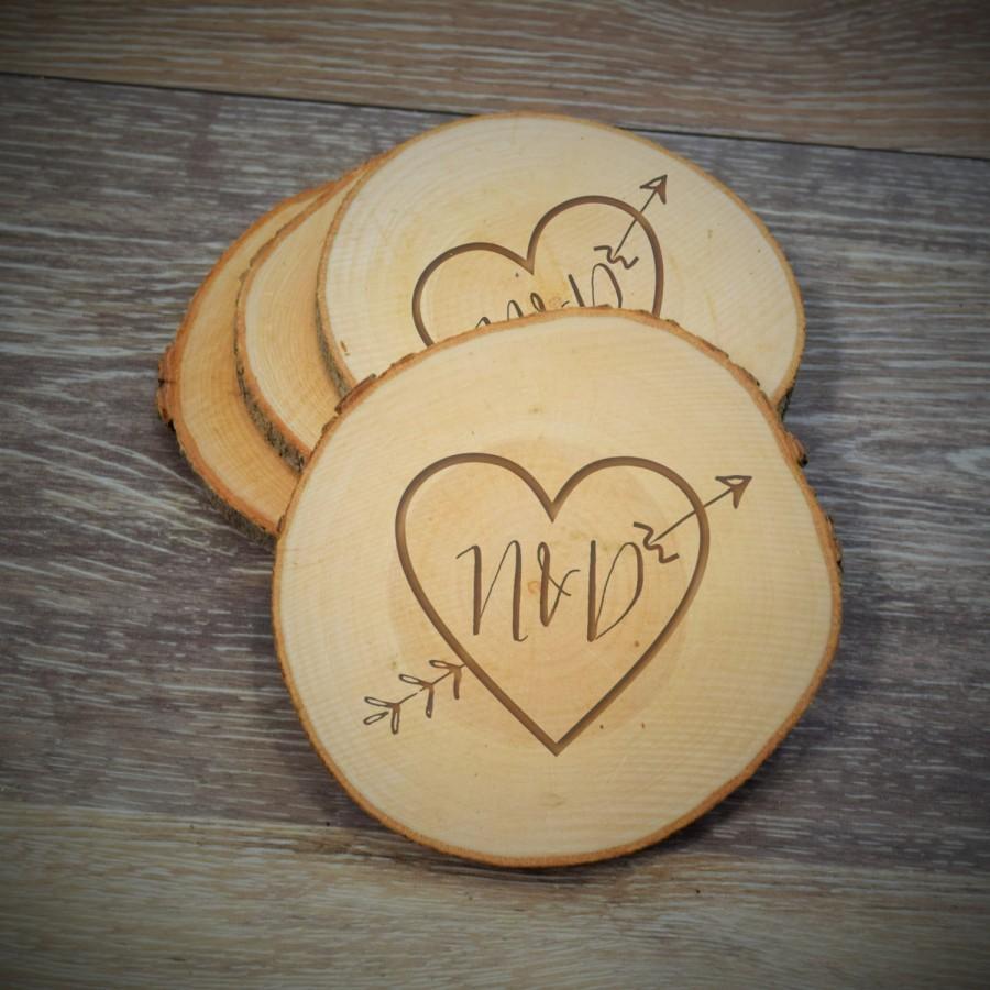 زفاف - Arrow Heart Wood Slice Coaster, Rustic Wood Coaster, Custom Save the date Wood Magnet, Wedding Gift Wood Slice Ornament, Wood Slice Magnet